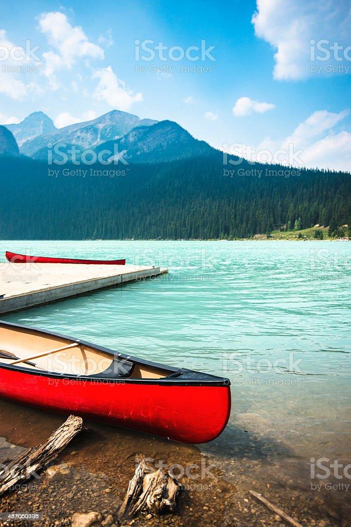 Lake Moraine in Banff National Park - Canada stock photo
