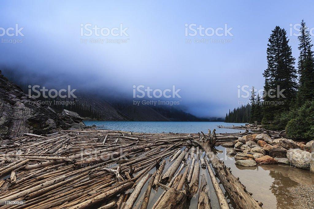 Lake Moraine in fog royalty-free stock photo