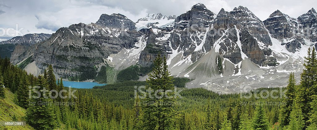 Lake Moraine view panorama, Banff national park royalty-free stock photo