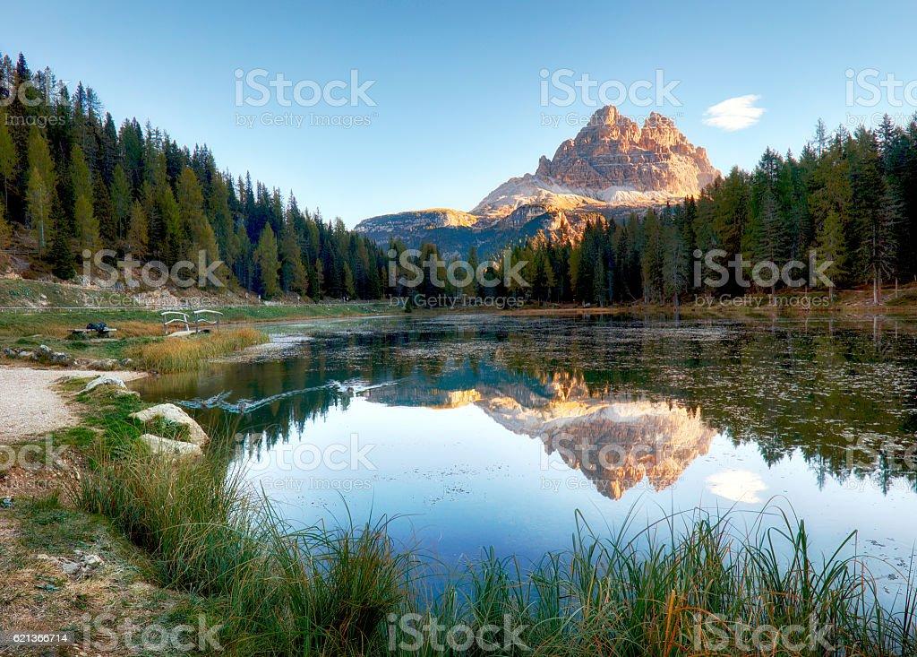 Lake mountain landcape with Alps  peak reflection, Lago Antorno, Dolomites stock photo