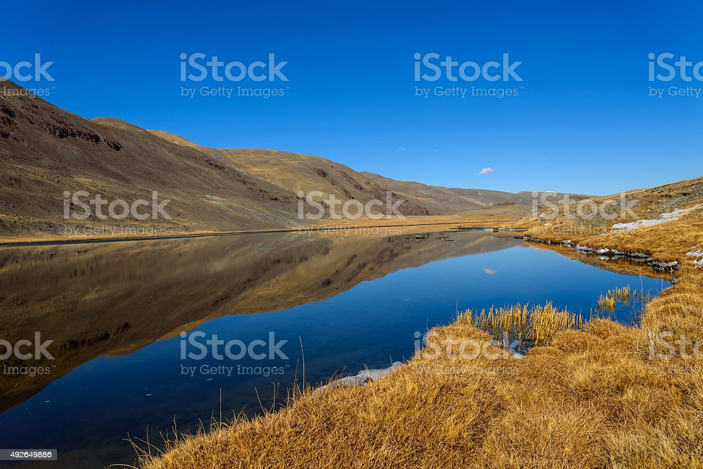 lake mountains reflection autumn stock photo