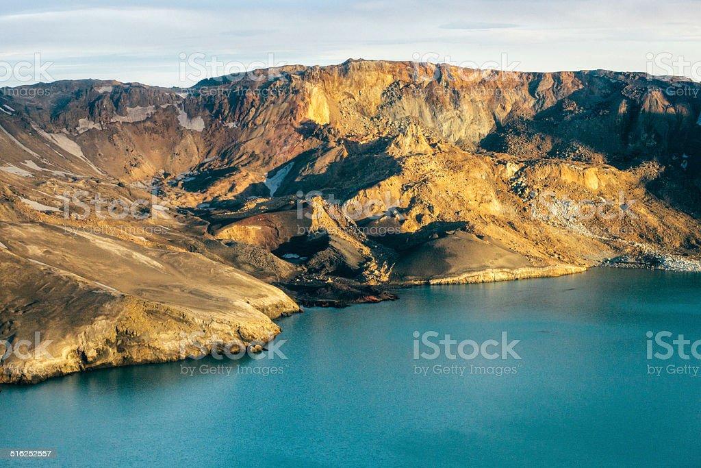 Lake Myvatn, aerial view stock photo