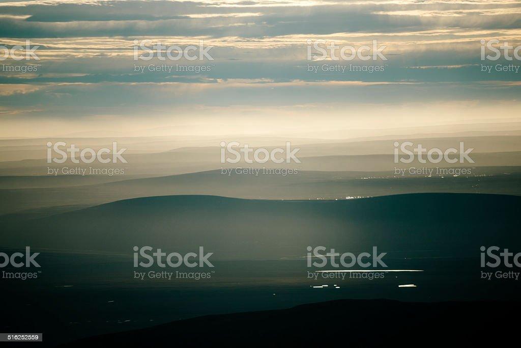 Lake Myvatn at dusk stock photo