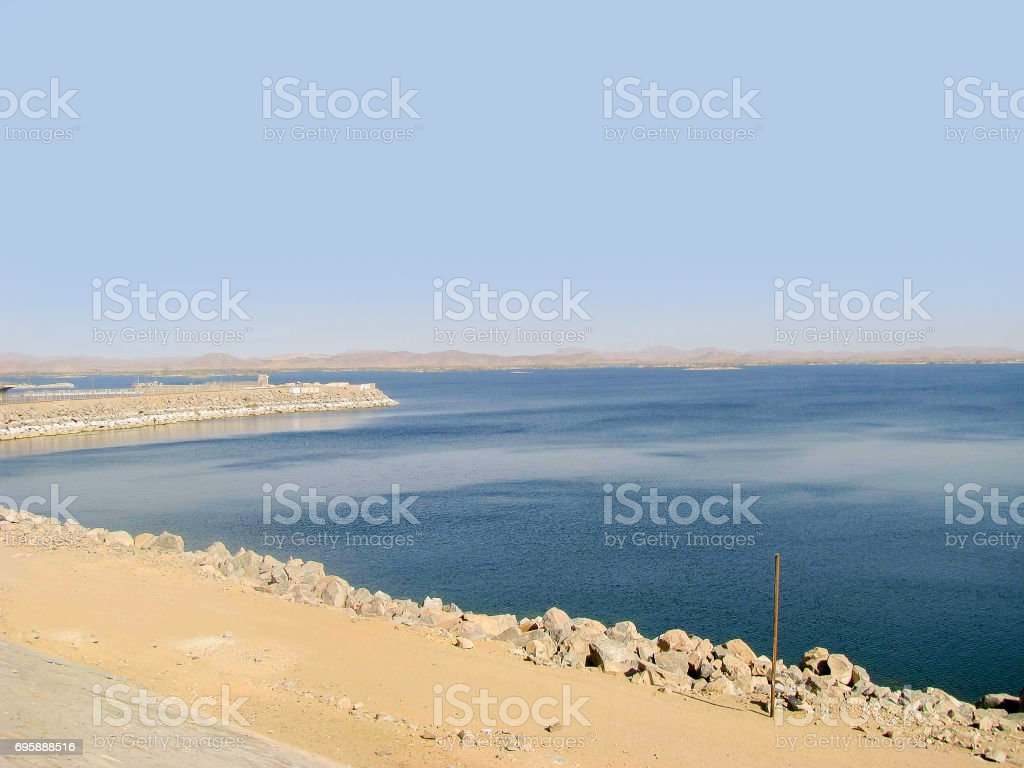Lake Nasser, artificial water storage stock photo