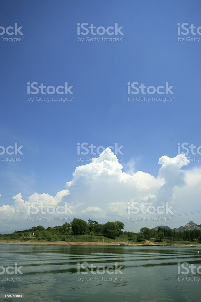 lake natural scenery, white clouds and blue sky royalty-free stock photo