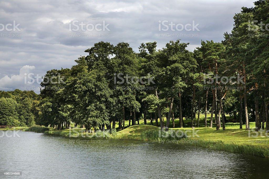 Lake near castle in Mir. Belarus stock photo