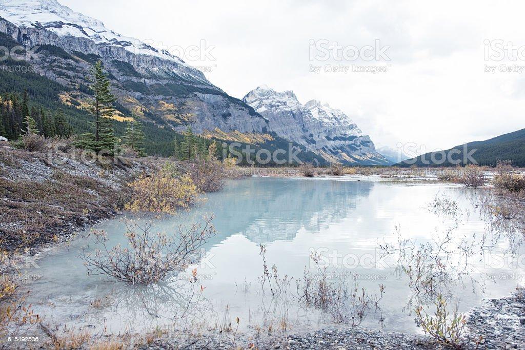 Lake near Mount Coleman, Canadian Rockies stock photo