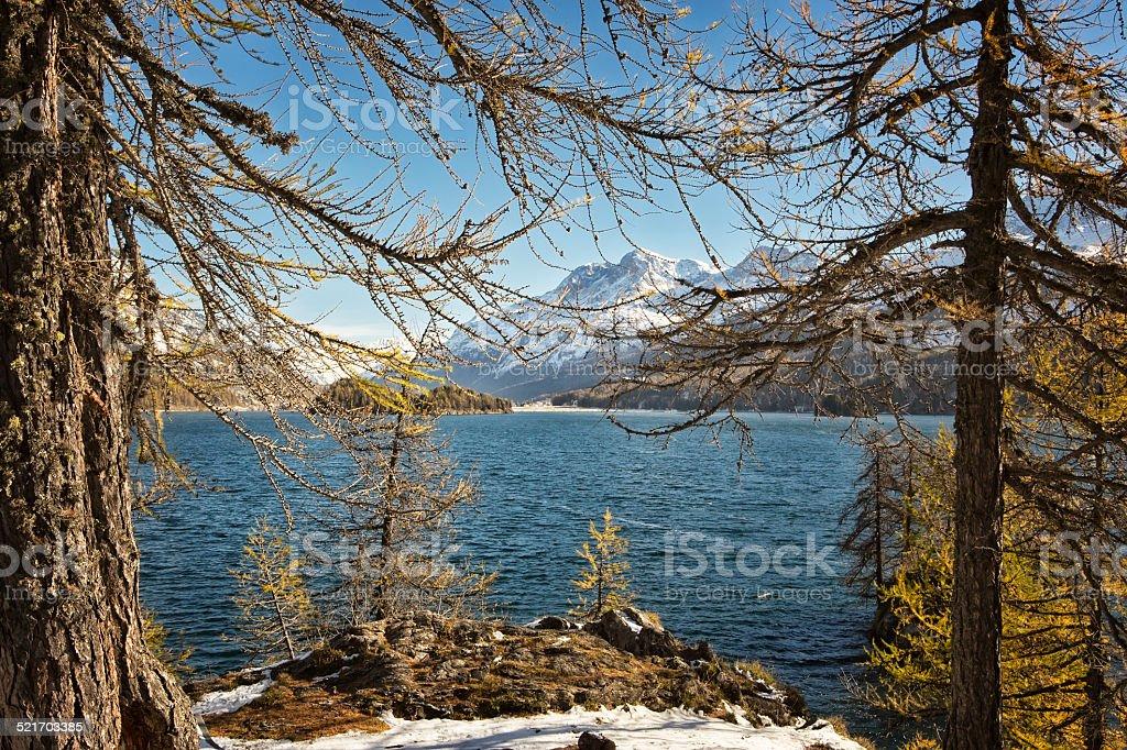 Lake near Saint Moritz stock photo