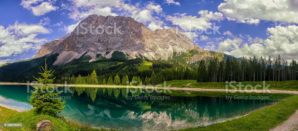 Lake near the Zugspitze stock photo