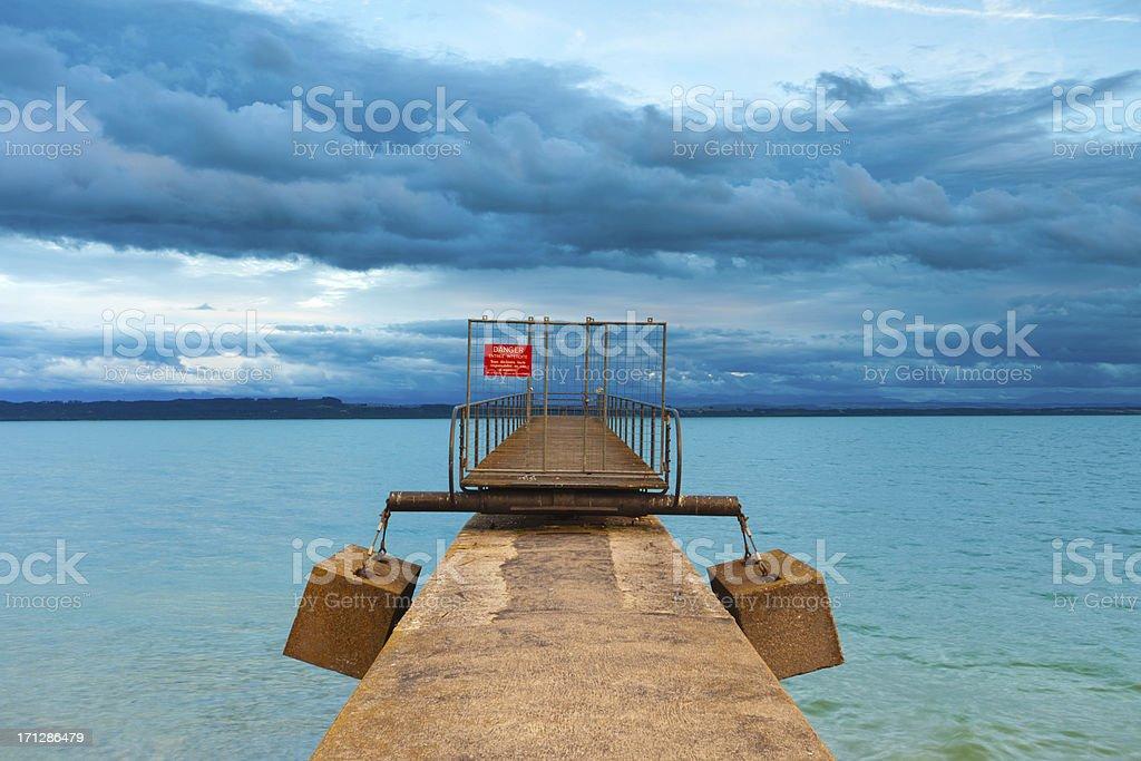 Lake Neuchatel and port stock photo