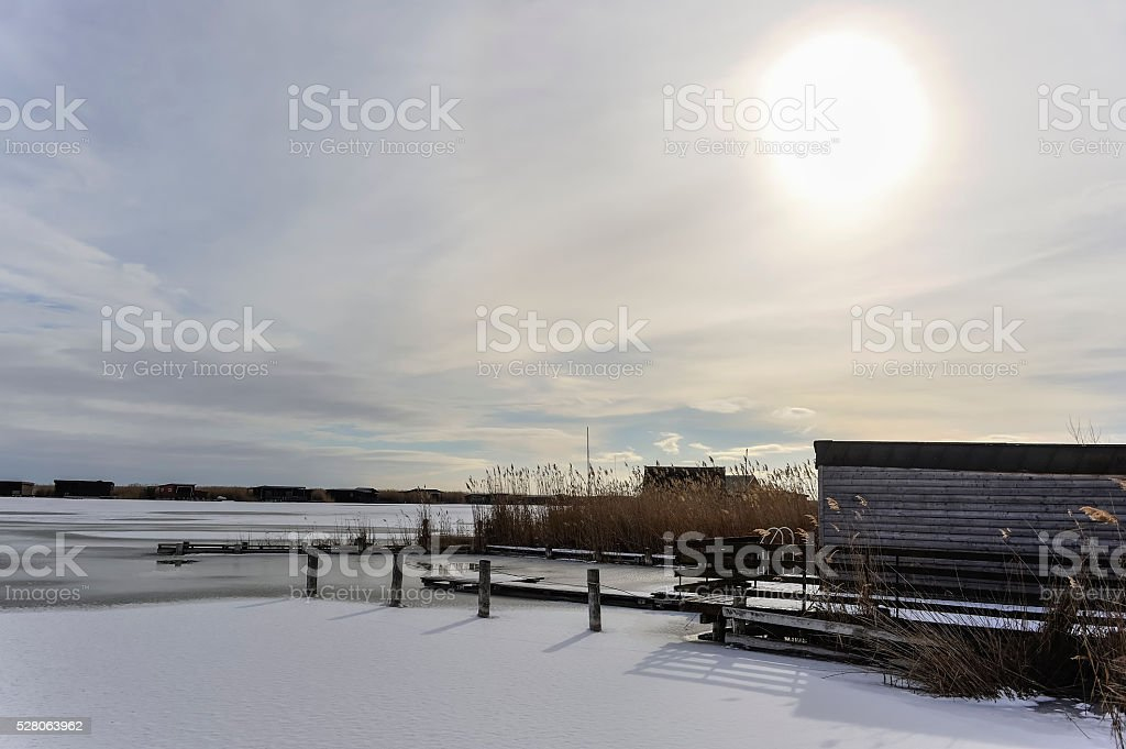 Lake Neusiedl with ice and snow in winter stock photo