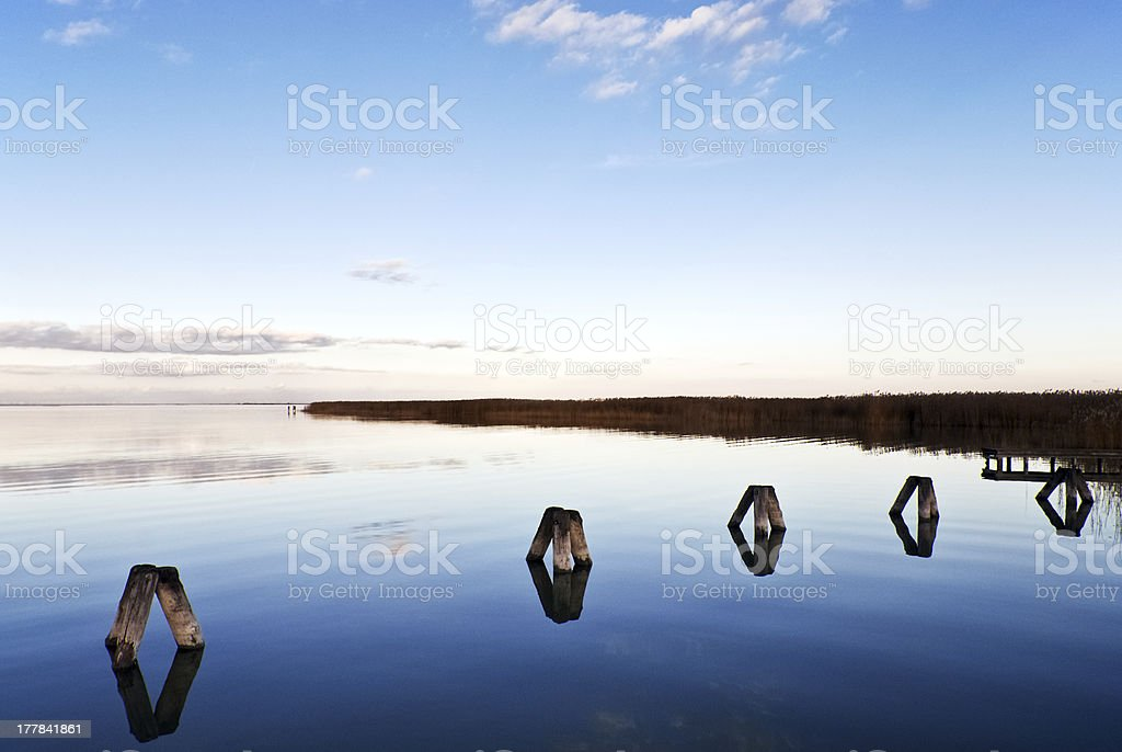 Lake Neusiedlersee in the evening royalty-free stock photo