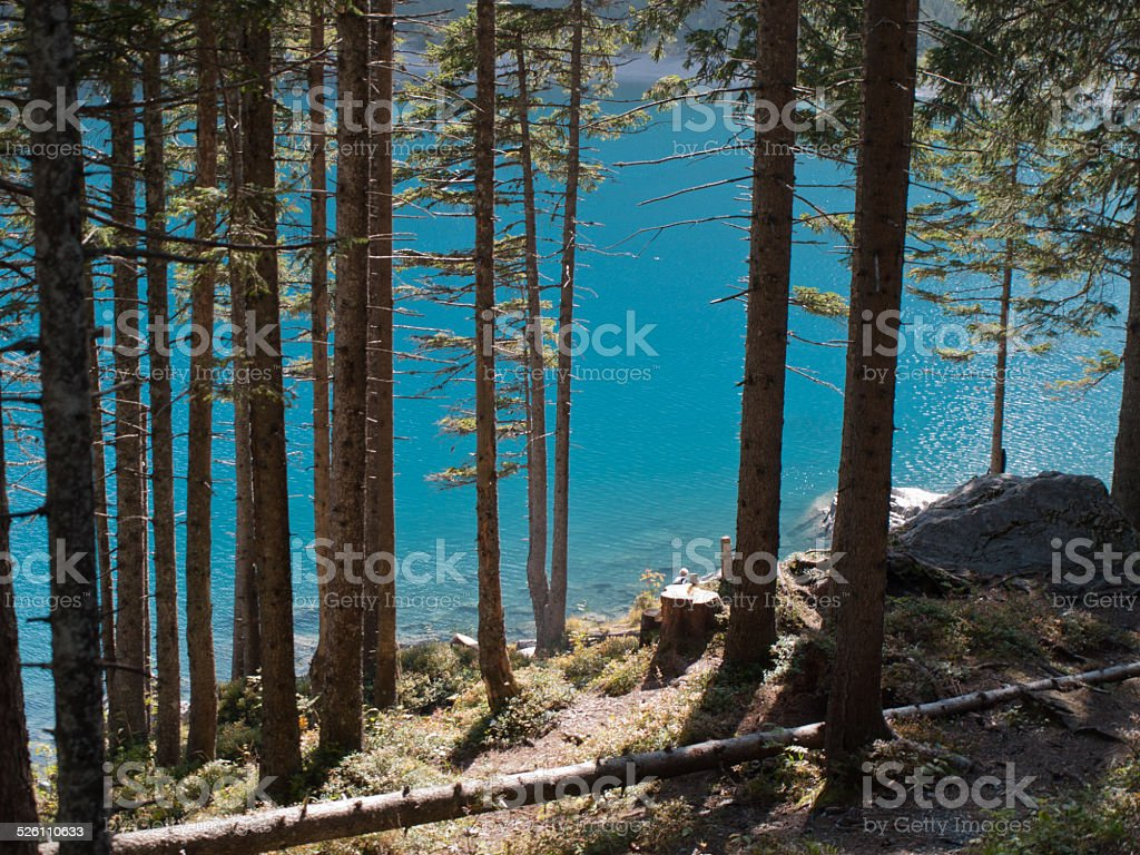 Lake oeschinen in switzerland stock photo