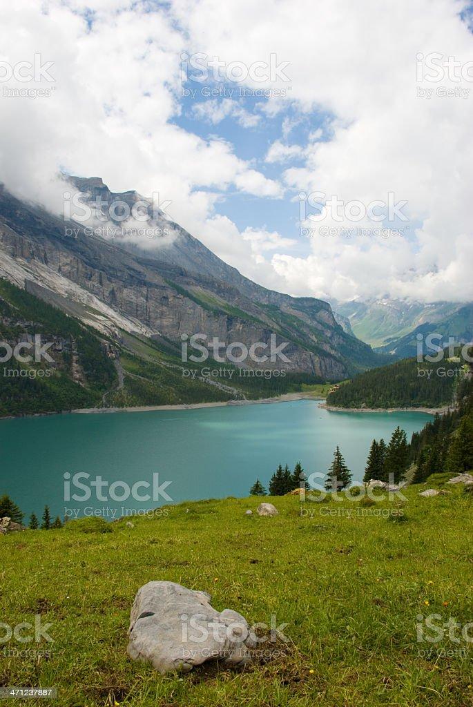 Lake Oeschinensee (Switzerland) royalty-free stock photo