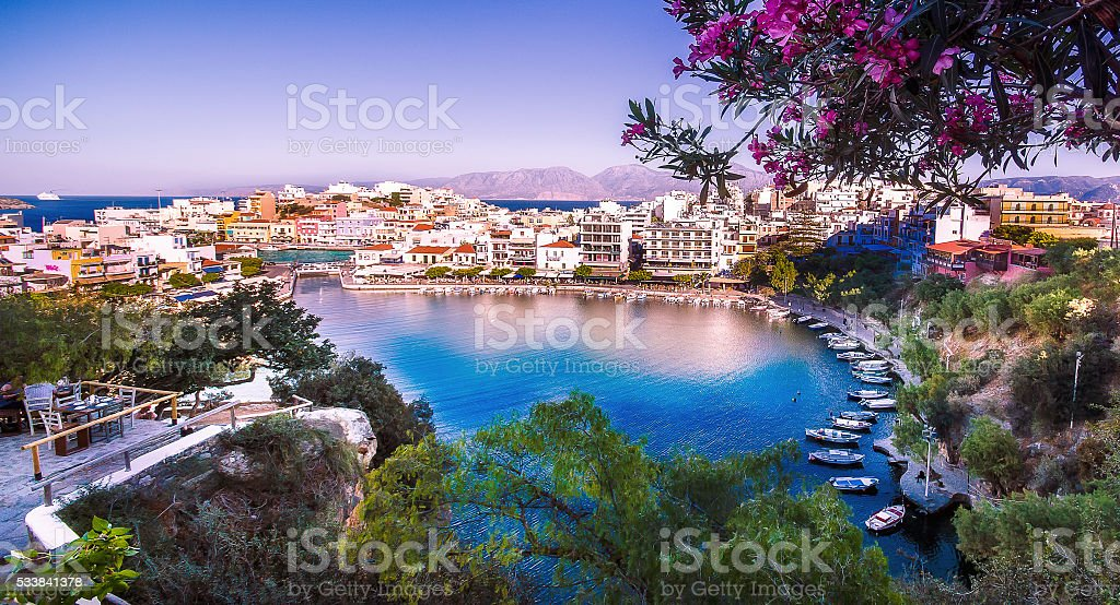 Lake of Agios Nikolaos Crete stock photo