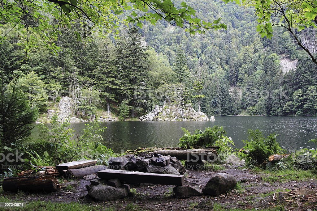 Lake of Altenweiher in Alsace stock photo
