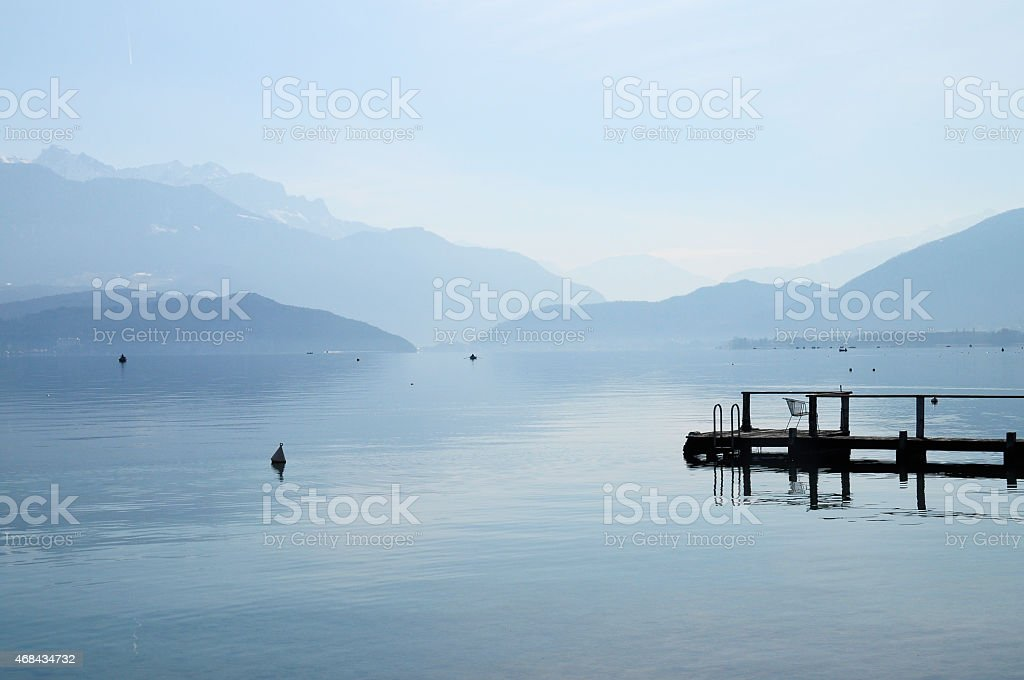 Lake of Annecy and Forclaz mountain, in france stock photo