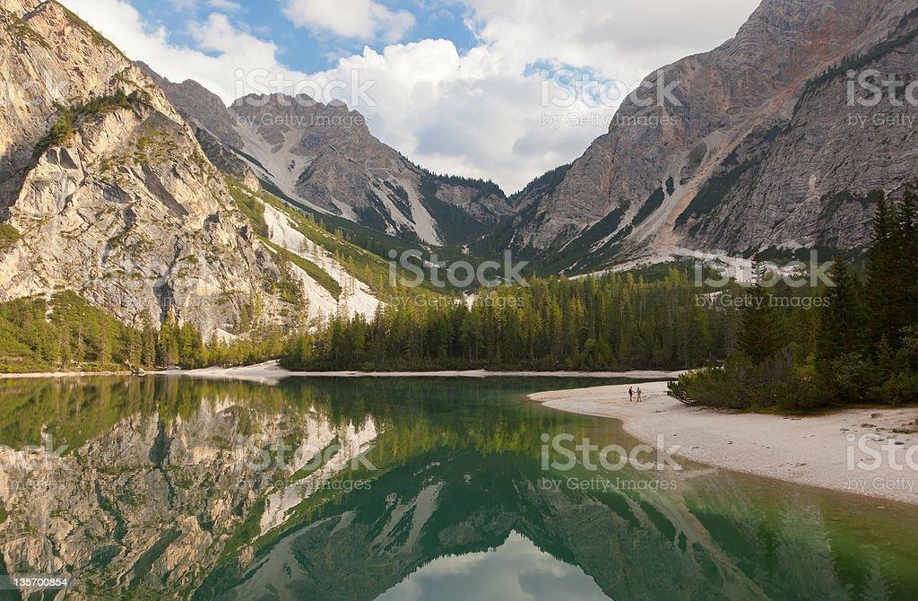 Lake of Braies Italy stock photo