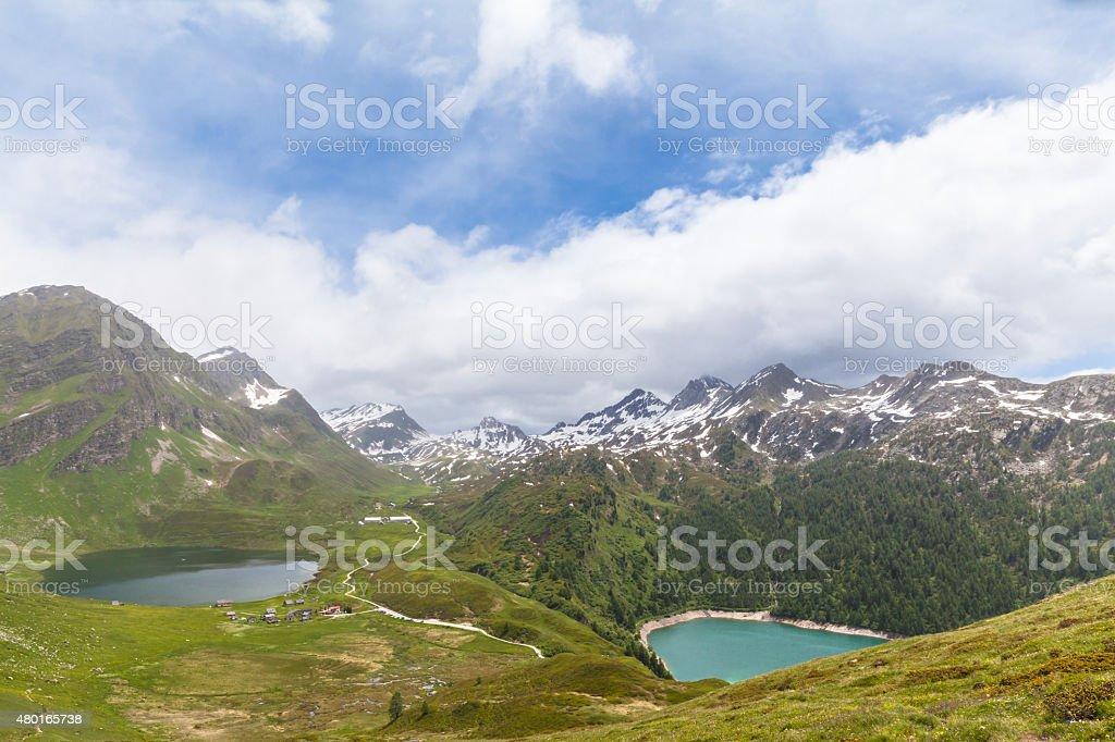 Lake of Cadagno and Ritom in Ticino, Switzerland stock photo