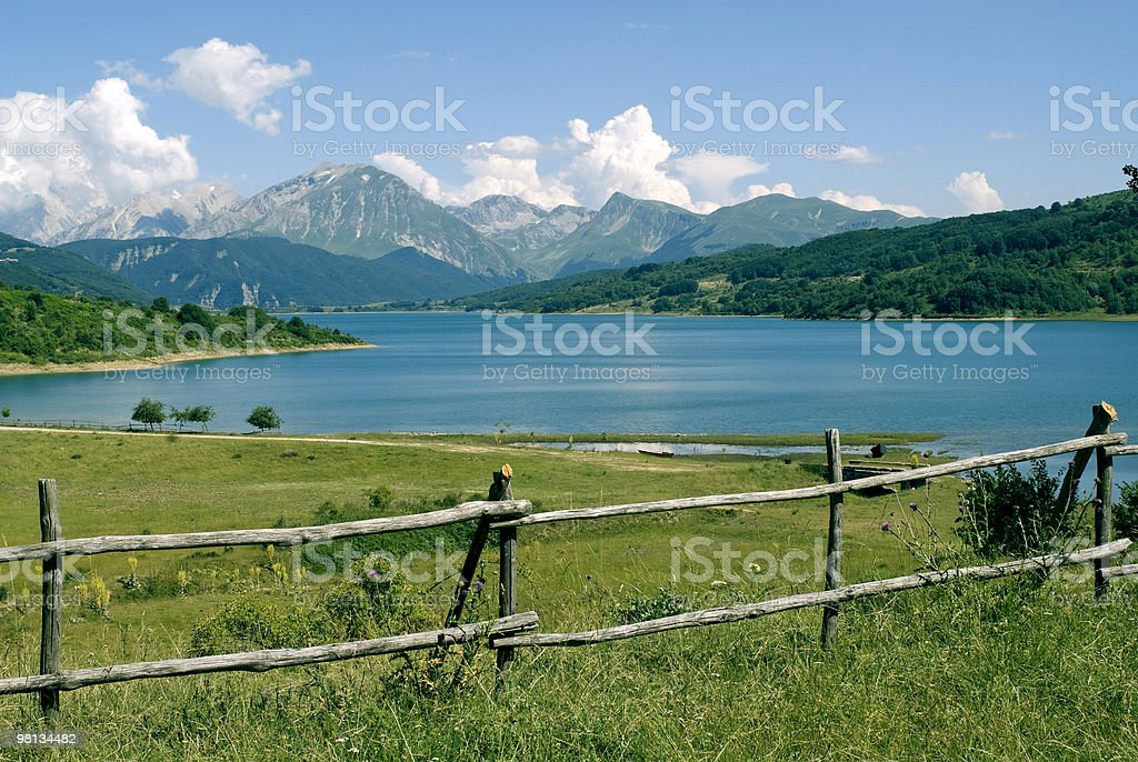 Lake of Campotosto in Abruzzi stock photo