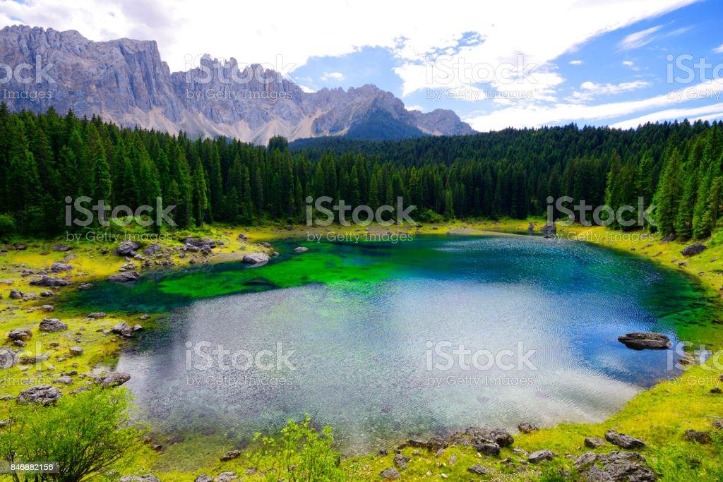 Lake of Carezza, Dolomites Alps, Italy stock photo