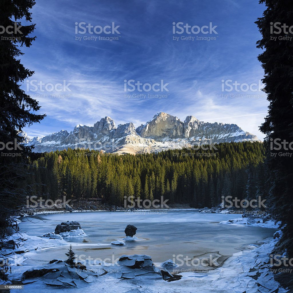 Lake of Carezza in Winter, Dolomites, Italy royalty-free stock photo