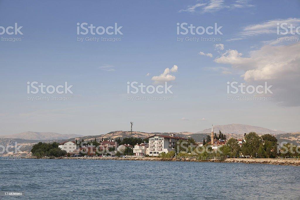 Lake of Egridir and town on peninsula stock photo