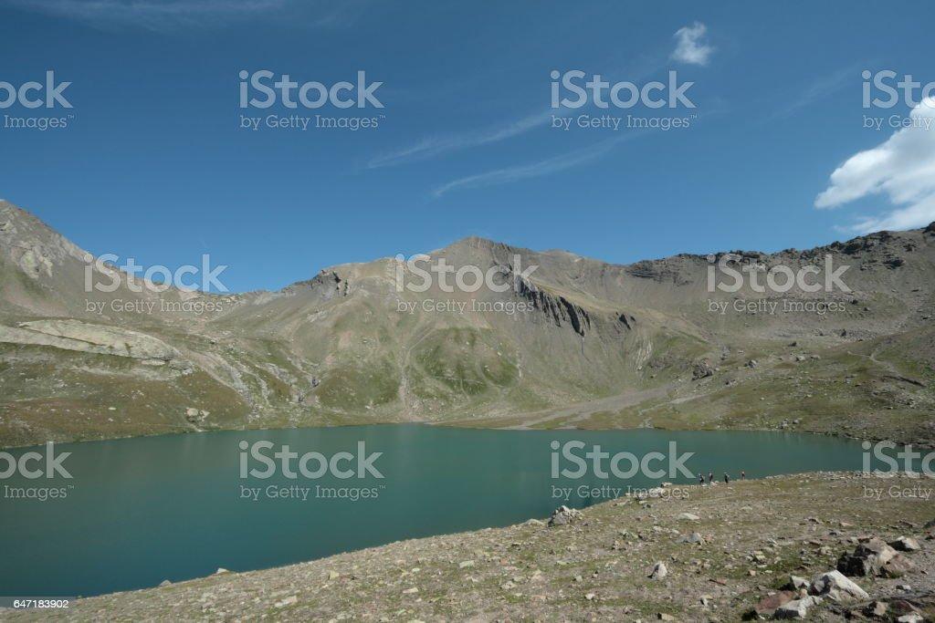 Lake of Estaris in Alps, France stock photo