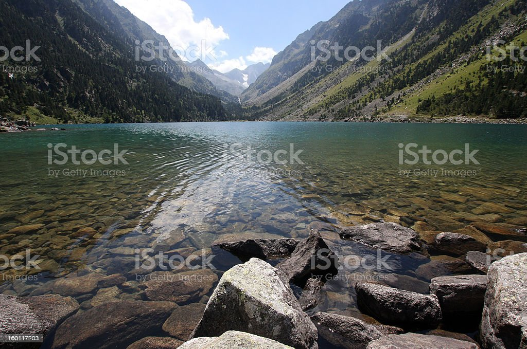Lake of Gaube in the French Pyrénées stock photo