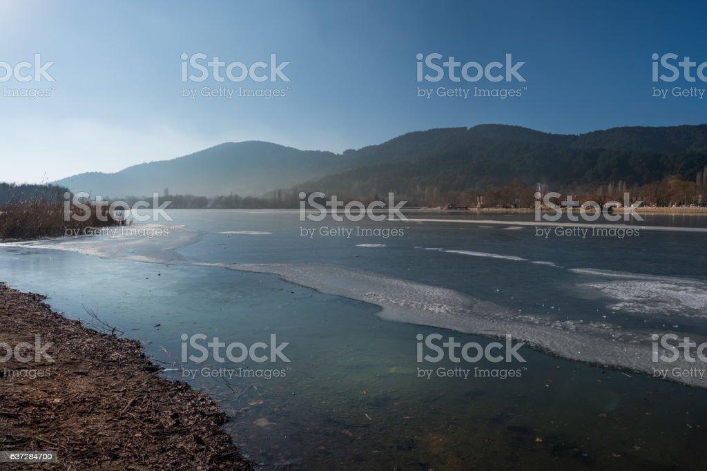 Lake of Golcuk in winter stock photo