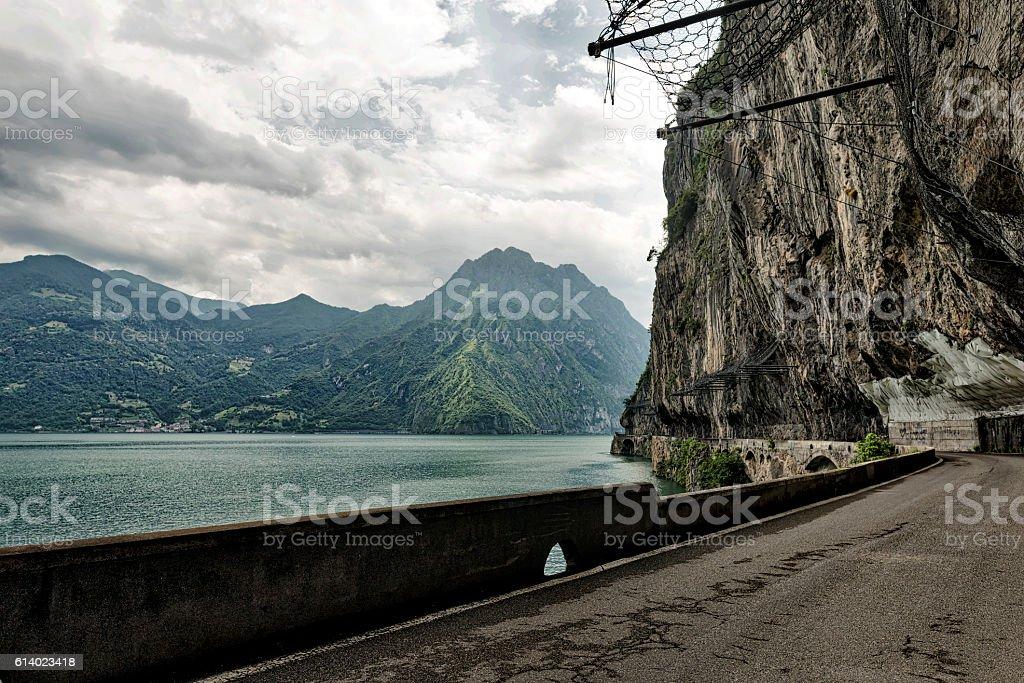Lake of Iseo near Lovere (Italy) stock photo