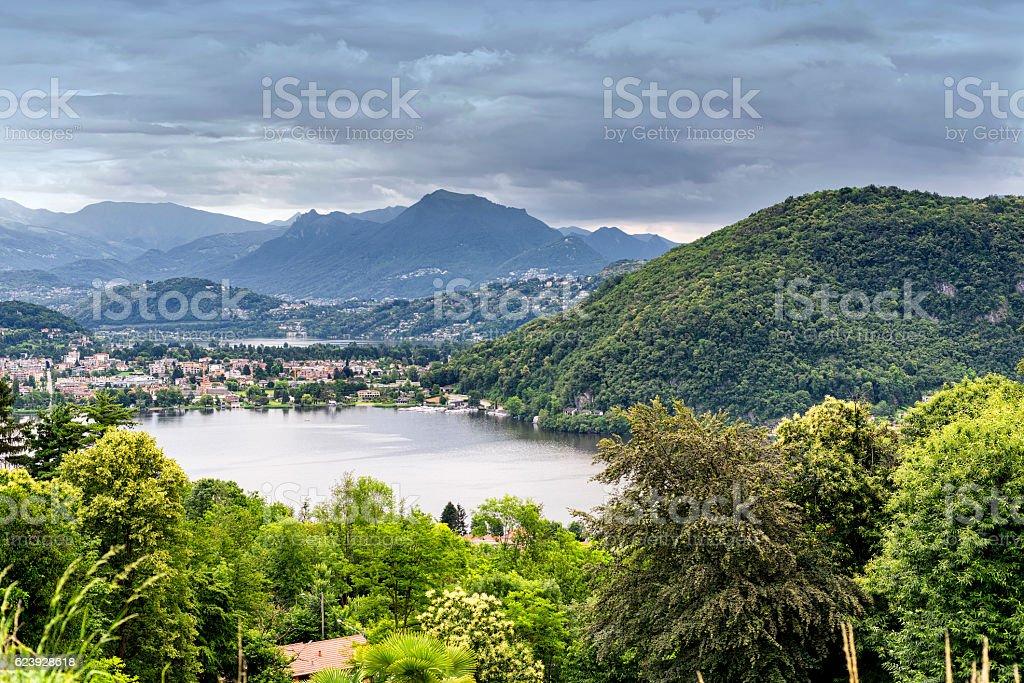 Lake of Lugano at Ponte Tresa stock photo