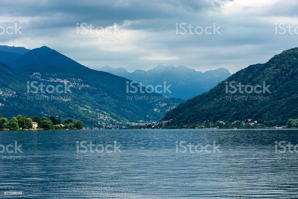 Lake of Lugano: Morcote stock photo