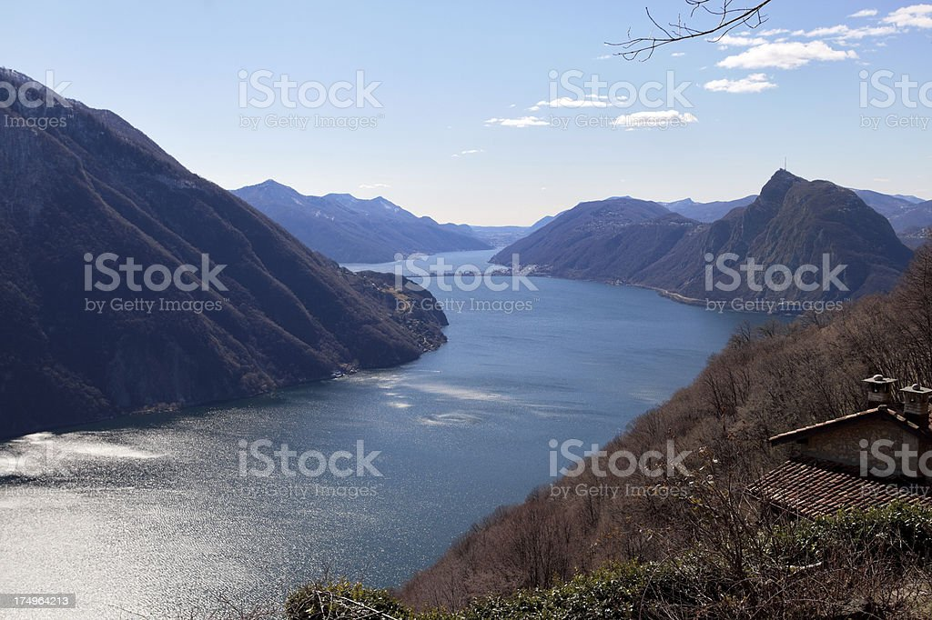 Lake of Lugano stock photo