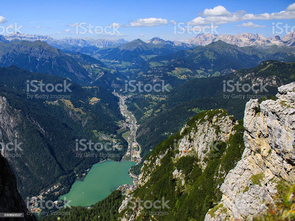 lake of mountain in veneto alps stock photo