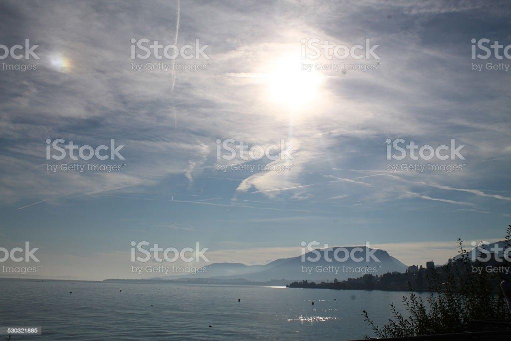 Lake of Neuchatel stock photo