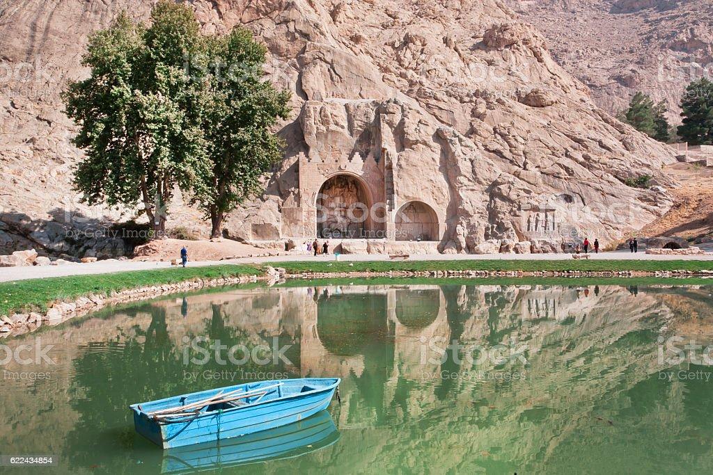 Lake of oasis near historical landmarks in Iran stock photo