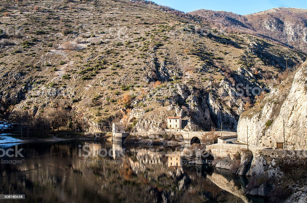Lake of Scanno in Abruzzo with church stock photo