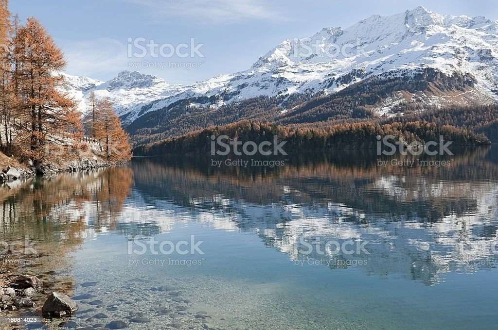 Lake of Silvaplana near St. Moritz stock photo