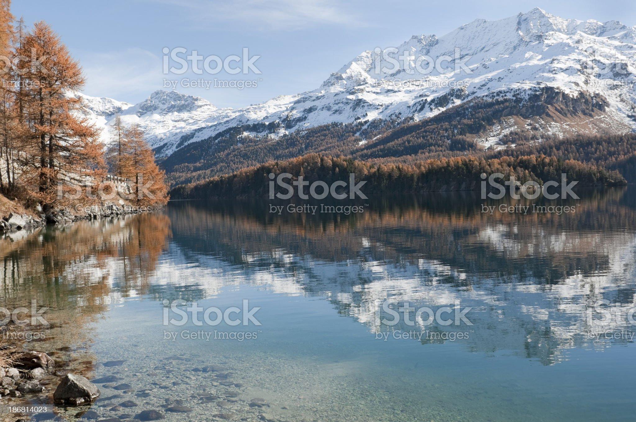 Lake of Silvaplana near St. Moritz royalty-free stock photo