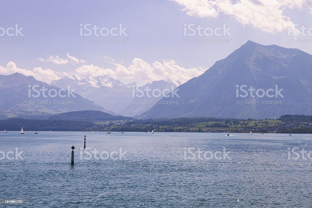 'Lake of Thun and The Swiss Alps, Niesen Mountain' stock photo