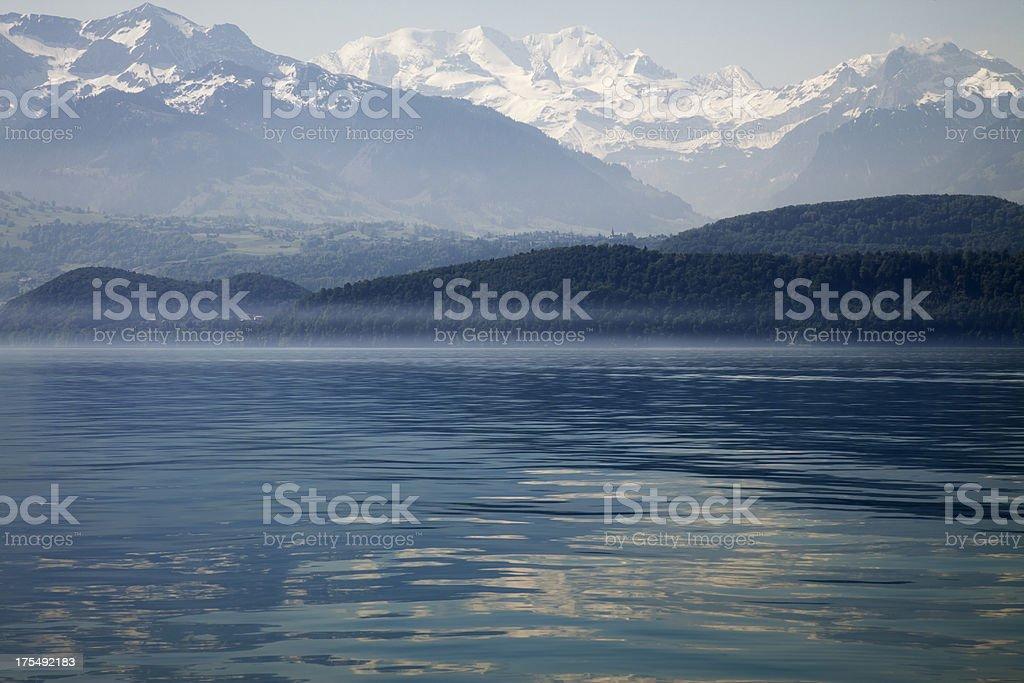Lake of Thun and The Swiss Alps stock photo