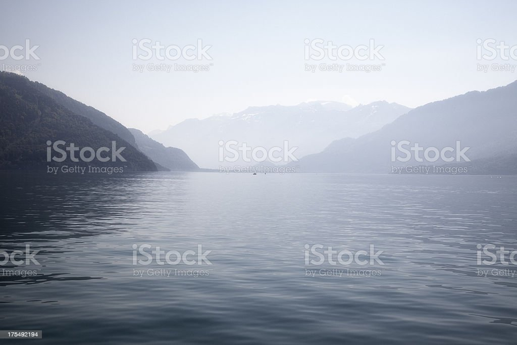 Lake of Thun and The Swiss Alps stock photo