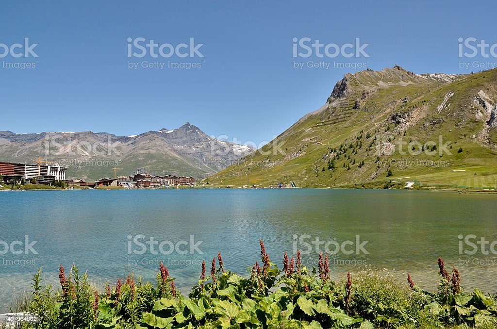 Lake of Tignes in France stock photo