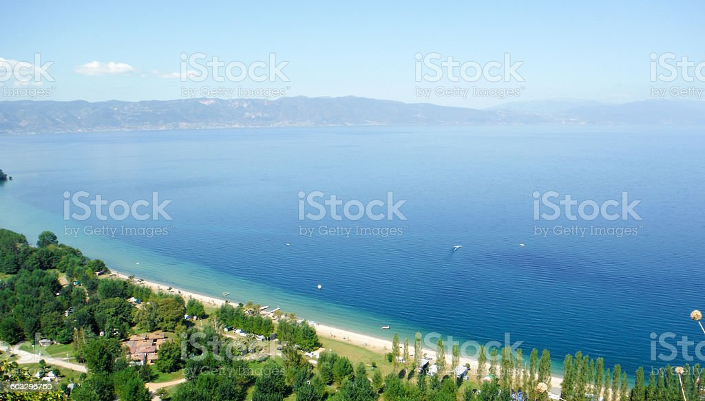 Lake Ohrid in summer stock photo