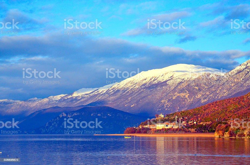 Lake Ohrid, View from Tushemisht village, Albania stock photo