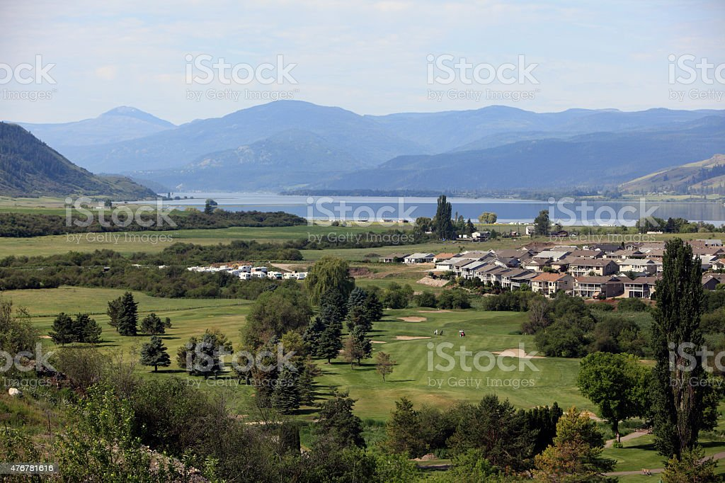 Lake Okanagan,Homes,And Golf,Vernon British Columbia stock photo