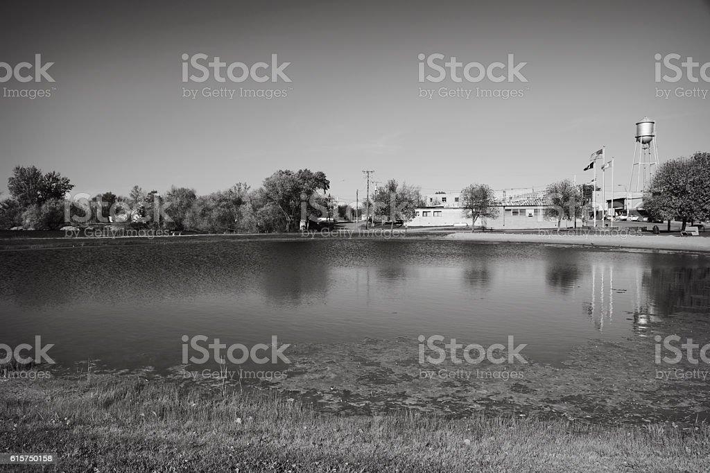 Lake on Edge of Small Town America stock photo