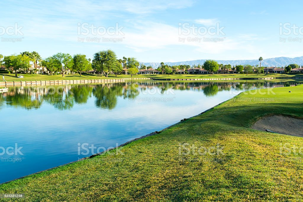 Lake On Golf Course stock photo