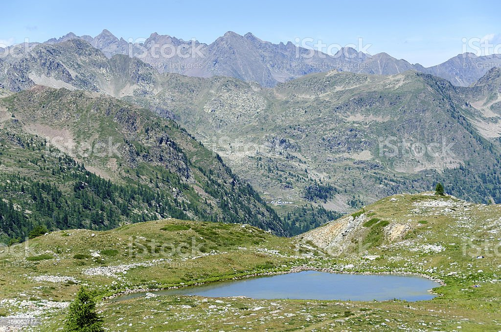 lake on the alps stock photo
